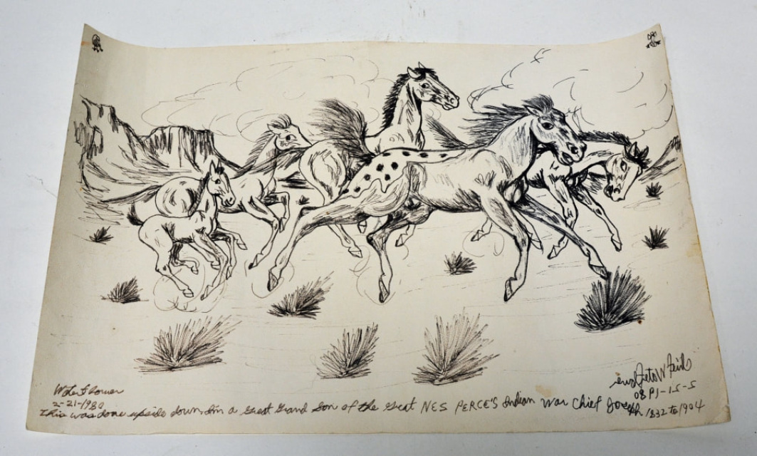 5118 01 Paper Drawing Of Running Horses By Chief Water Flower