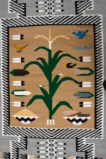 1244 066 Navajo Rug Storm Pattern With Birds Corn Plant