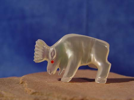 Zuni elk fetish mother of pearl coral eye great carving