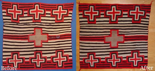 Before and After Navajo Rug Cleaning and Repair services Matt Wood Antique American Indian Art, Inc